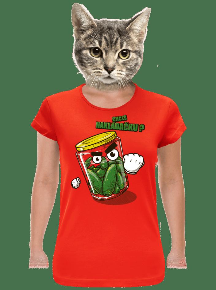 Nakládačka červené dámské tričko klasik