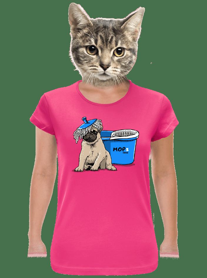 Mops fuchsiové dámské tričko
