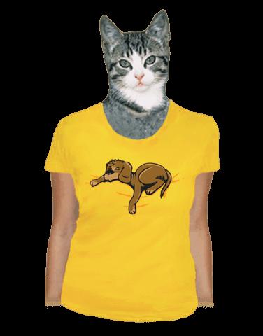 Spící pes žluté dámské tričko
