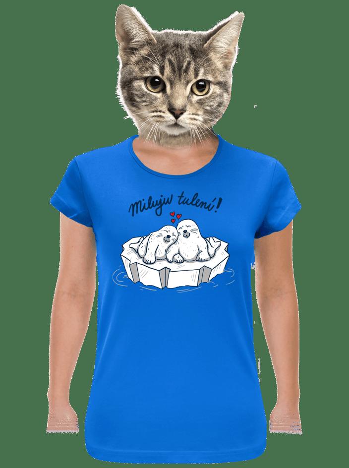 Miluju tulení modré dámské tričko