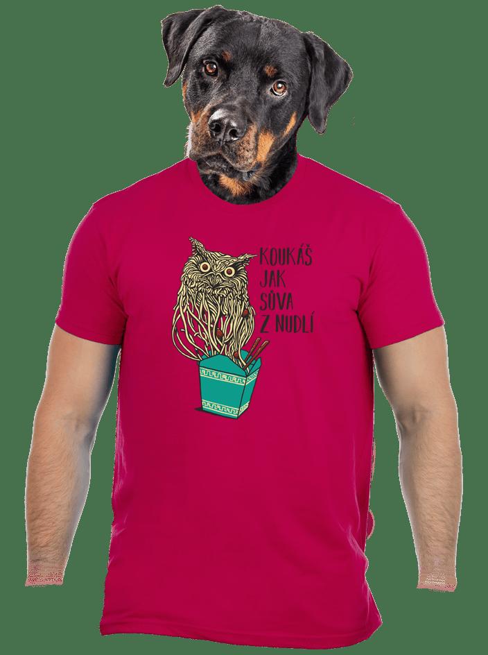 Sůva z nudlí fuchsiové pánské tričko
