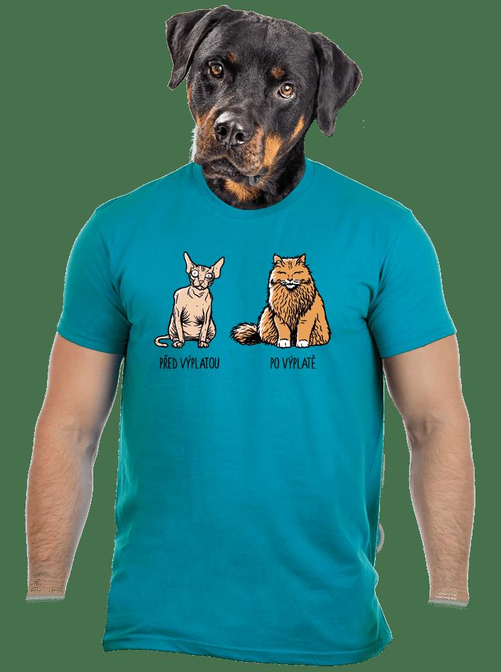 Kočka před výplatou modré pánské tričko