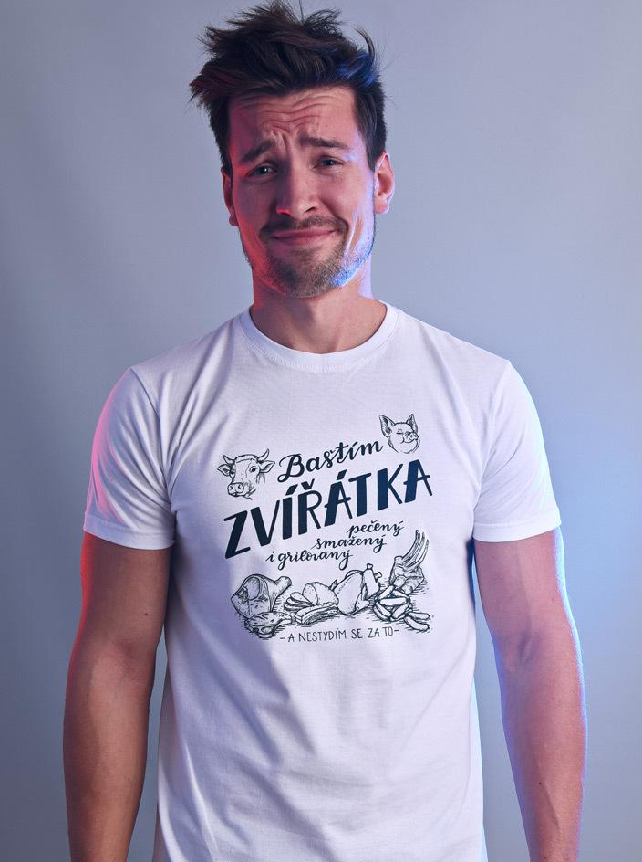 B 12 Baštím zvířátka bílé pánské tričko