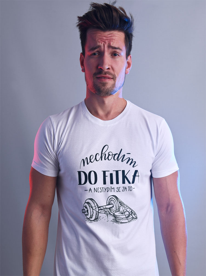 B 12 Nechodim do fitka bílé pánské tričko