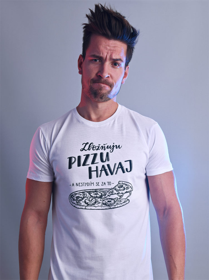 B 12 Zbožňuju pizzu Havaj bílé pánské tričko