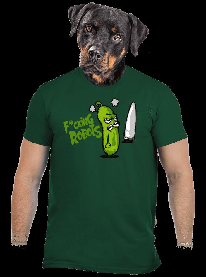 Fucking Robots zelené pánské tričko
