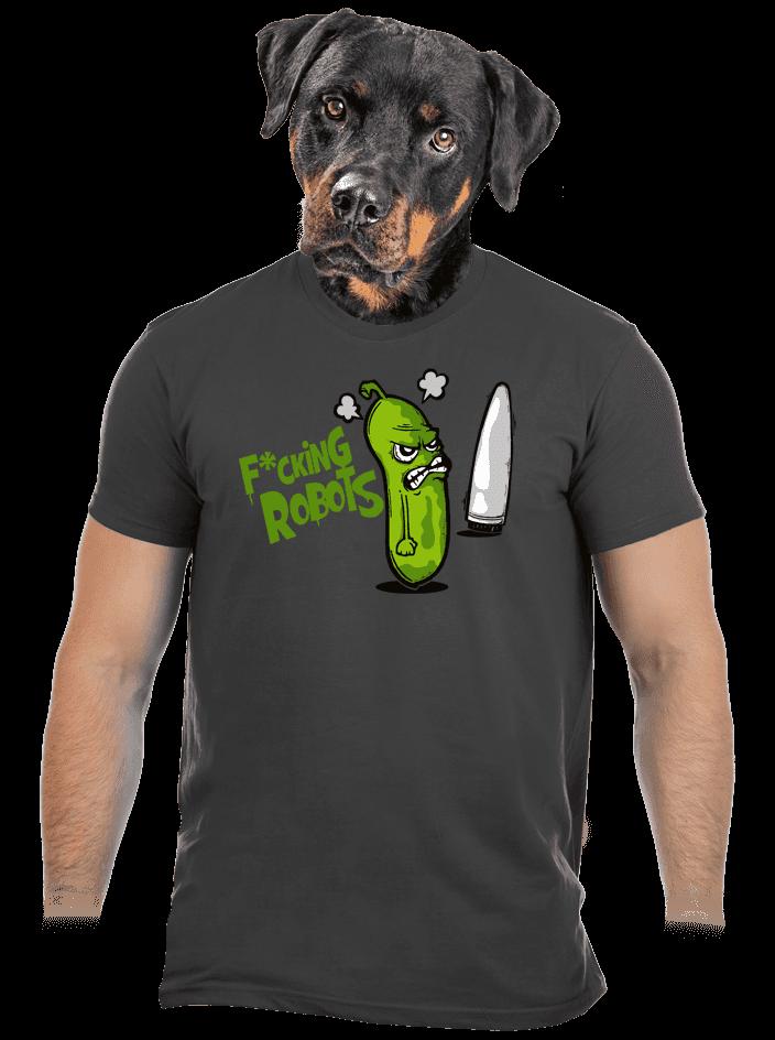 Fucking Robots šedé pánské tričko