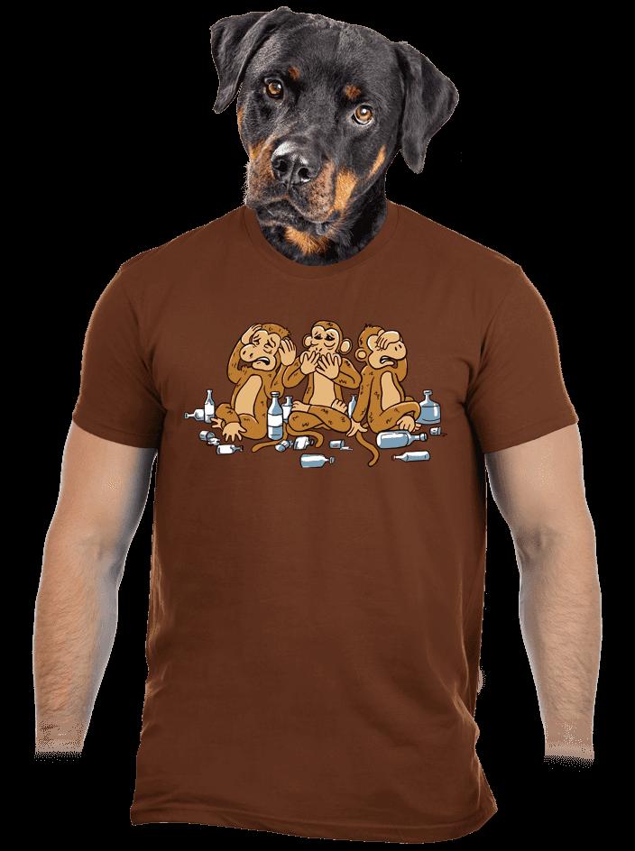 Trojnásobná opice hnědé pánské tričko