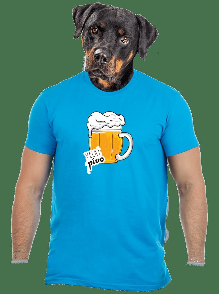 Velký pívo modré pánské tričko