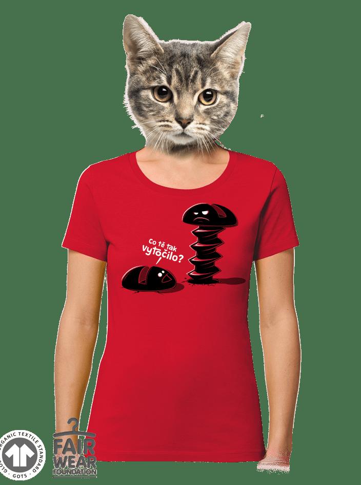 Vytočenej červené dámské BIO tričko