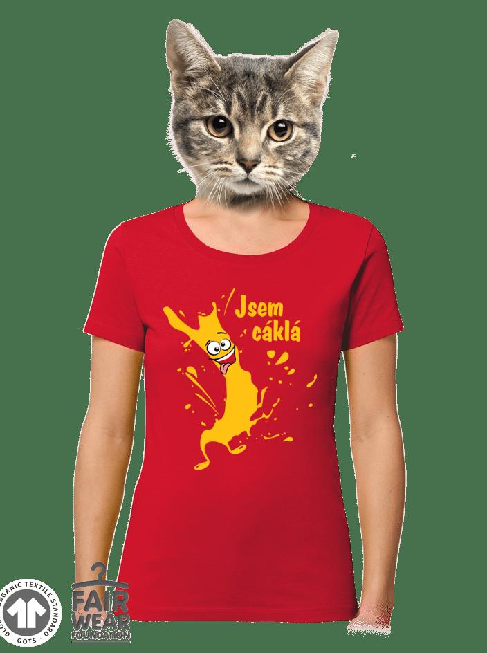 Cáklá červené dámské BIO tričko