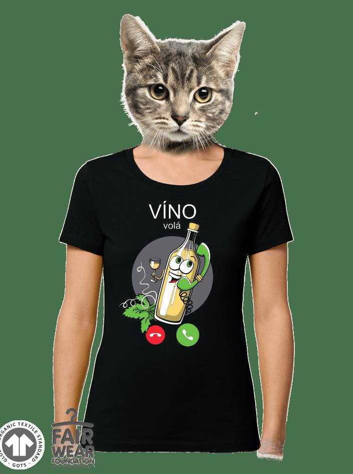 Bílé víno volá černé dámské BIO tričko