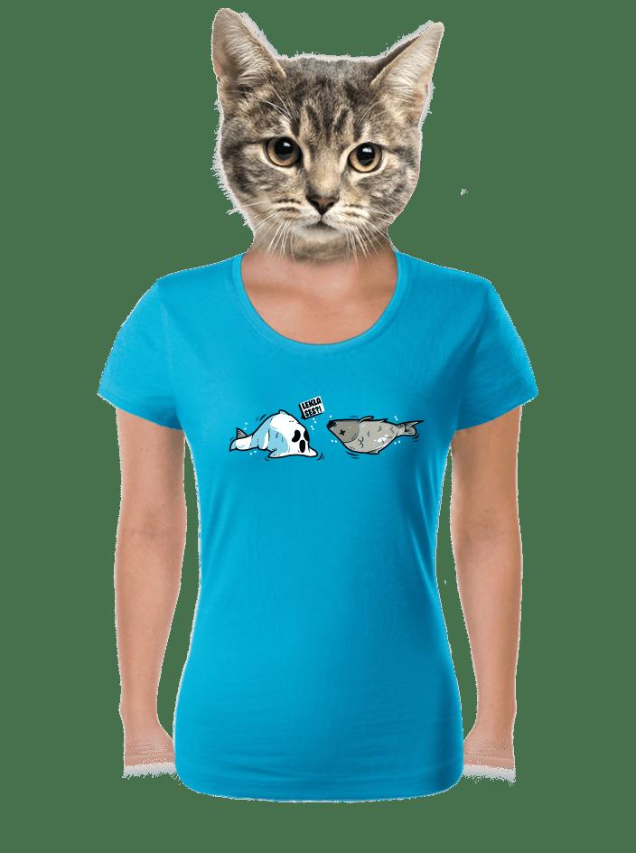 Leklá ryba modré dámské tričko