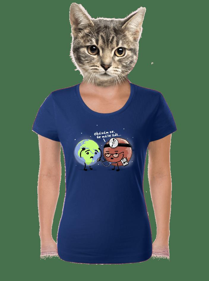 Diagnóza modré dámské tričko