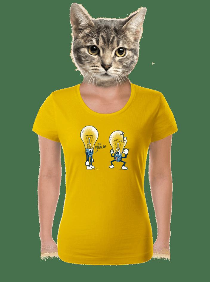 Prdlá žluté dámské tričko