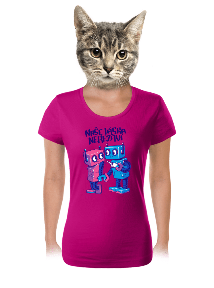 Roboti fuchsiové dámské tričko