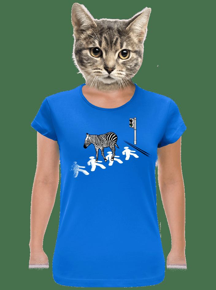 Zebra modré dámské tričko