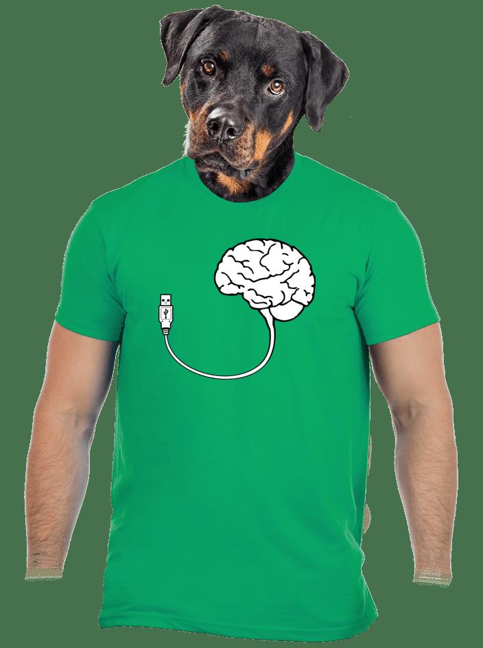 USB mozek zelené pánské tričko