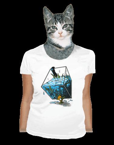 Migrující rybka bílé dámské tričko