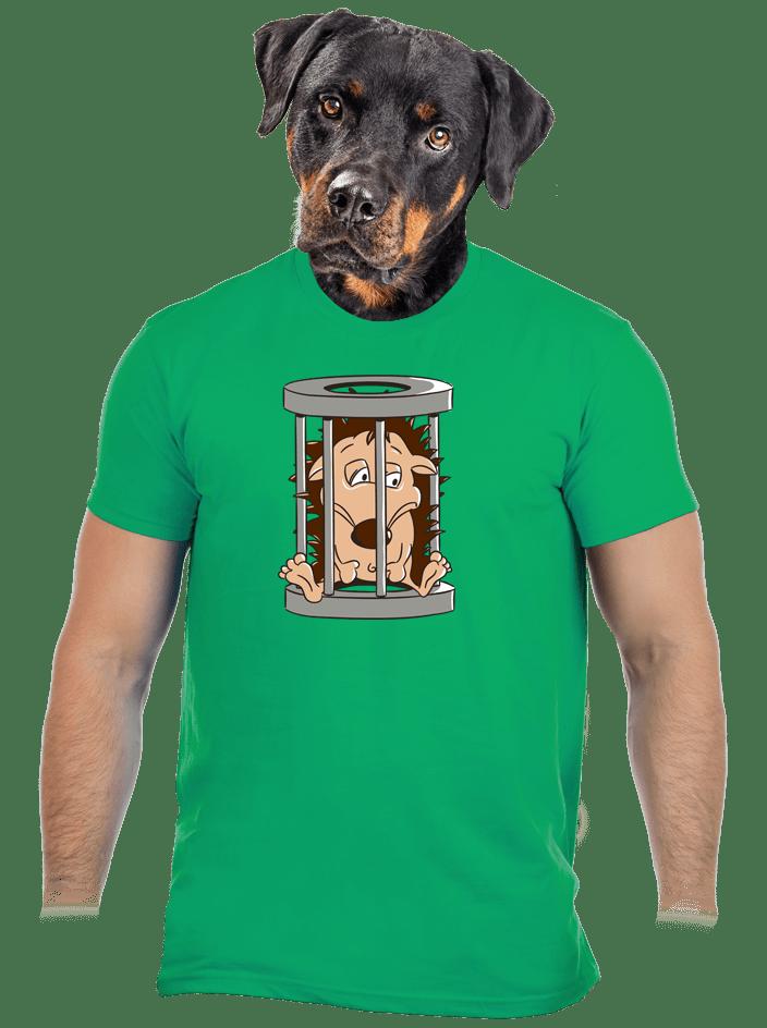 Ježek v kleci zelené pánské tričko